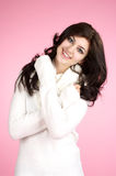 Young cheerful woman with white Royalty Free Stock Photography
