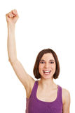 Young cheering woman with clenched Stock Photos