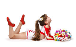 Young cheerleading girl Stock Photography