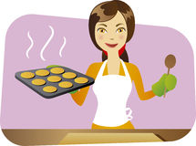 young chef baking cookies Royalty Free Stock Images