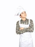Young chef. Beautiful young cook on the white background Royalty Free Stock Photo