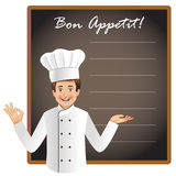 Young chef with a blank blackboard Royalty Free Stock Photography
