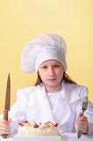 Young chef with cake Stock Photography