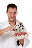 Young  chef caucasian male, tasty roast beef Stock Photo