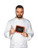 Young chef with chalkboard. Stock Image