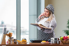 The young chef cook working in the kitchen. Young chef cook working in the kitchen Royalty Free Stock Photos