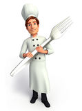 Young chef with fork Royalty Free Stock Photo