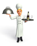 Young Chef with frying pan and beer Stock Image