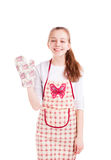 Young chef hold kitchen glove  Royalty Free Stock Photography