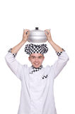 Young chef holding pan isolated on white Stock Images