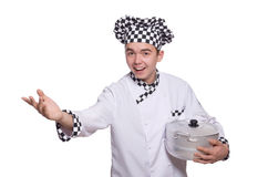 The young chef holding pan isolated on white Royalty Free Stock Photo