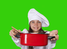 Young chef with pot. Caucasian blond girl with cook costume Royalty Free Stock Photos