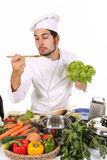 Young chef preparing lunch Royalty Free Stock Image