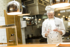 Young chef standing in a modern kitchen in the restaurant and pr Royalty Free Stock Photography