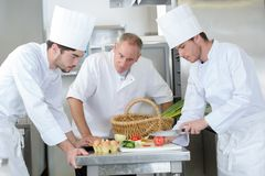 Young chef to be cutting ingredient. Young chef to be cutting the ingredient royalty free stock image
