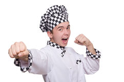 Young chef in uniform isolated on white Stock Photo