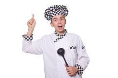 The young chef in uniform isolated on white Royalty Free Stock Photography