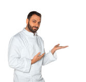 Young chef on white background. Royalty Free Stock Image