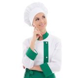 Young chef woman dreaming or thinking about something isolated o Royalty Free Stock Photo