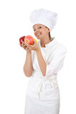 Young chef woman with red apples Royalty Free Stock Photo