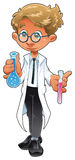 Young chemist. Vector and cartoon illustration stock illustration