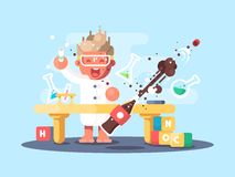 Young chemist characters. Makes experience and test in lab. Vector illustration stock illustration