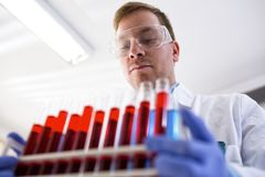 Young chemist in the laboratory holding tubes. And bring them to research Royalty Free Stock Photo