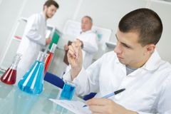 Young chemist makes chemical test in laboratory. Young chemist makes chemical test in the laboratory Royalty Free Stock Images