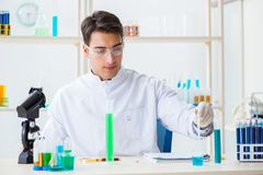 The young chemist student working in lab on chemicals Stock Images