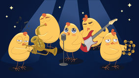 Young chickens play musical instruments on a blue background Royalty Free Stock Images