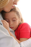 Young child asleep on mother. Shot of a young child asleep on mother Stock Photos