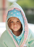 Young child in bathrob Stock Photos