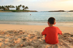 Young child on a beach. Royalty Free Stock Photography
