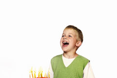 Young Child blowing out his birthday candles Stock Photos