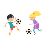 Young child boy and girl playing football vector illustration Royalty Free Stock Photos