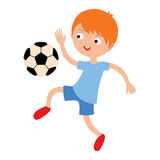 Young child boy playing football vector illustration Stock Photo