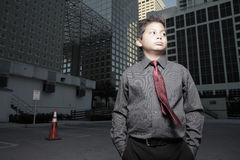 Young child businessman downtown Royalty Free Stock Photo
