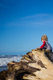 Young child climbing tree looking at ocean. Young child climbing tree, looking at ocean, playing, with copy-space stock images