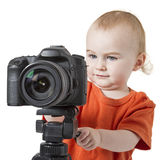 Young child with digital camera Royalty Free Stock Photography