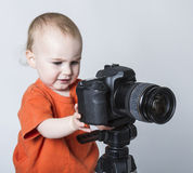 Young child with digital camera Stock Images