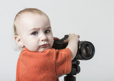 Young child with digital camera Royalty Free Stock Image