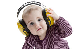 Young child with ear protector Royalty Free Stock Image