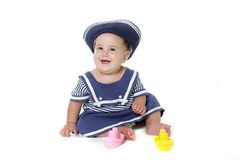 Young child girl dressed as sailor Royalty Free Stock Photography