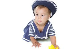Young child girl dressed as sailor Royalty Free Stock Images