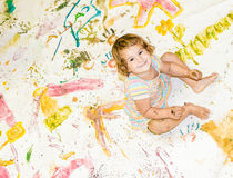 Young child girl painting over white Stock Photography