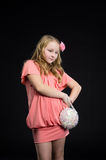 Young child girl in pink dress Royalty Free Stock Images