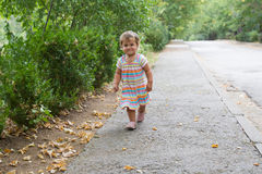 Young child girl, toddler on natural backgro Royalty Free Stock Image