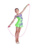 Young child gymnast posing with skipping rope Royalty Free Stock Images
