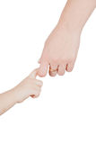 Young child hand holding adult hand Royalty Free Stock Photos