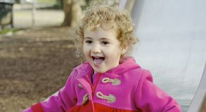 Young child having fun at the park. Royalty Free Stock Images